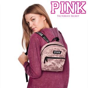 PINK Victoria's Secret Velvet Campus Mini Backpack